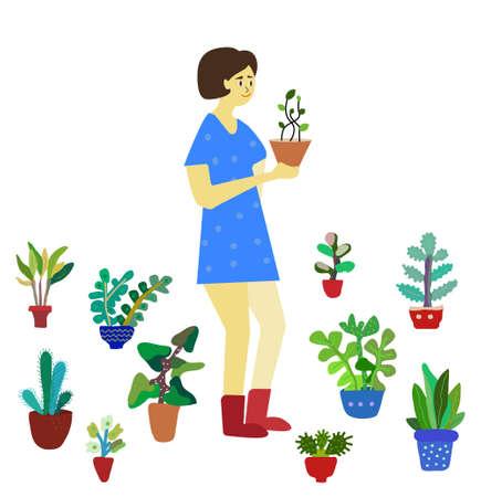 Girl with plants - florist or gardener, flat vector illustration, cute style