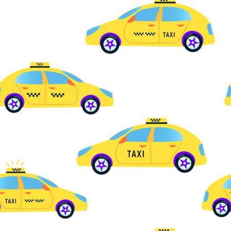 Taxi seamless pattern - vector flat illustration, cute design 矢量图像