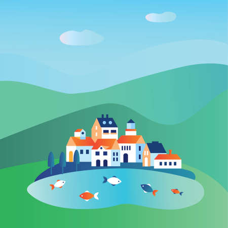Landscape with houses and lake, village in the meadows. Vector graphic illustration