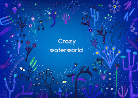 Underwater background with flora and craze elements, vector graphic illlustration