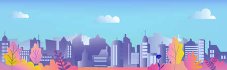 City panorama vector illustration with modern houses and plants. Flat design