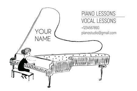 Pianist business card - woman at the piano. Vector graphic illustration