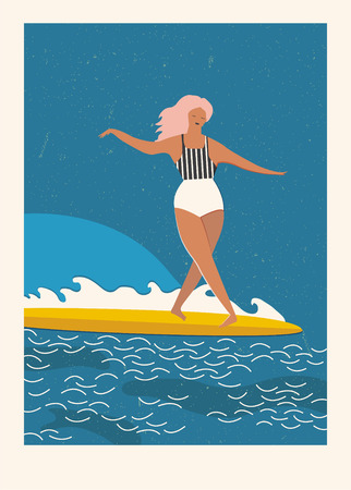 swiming: Flat illustration with surfer girl on a longboard rides a wave. Beach lifestyle poster in retro style. Art deco posters collection.