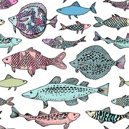 Hand drawn fish pattern seamless in vector. 일러스트