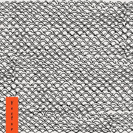 patrón de piel de pescado dibujado a mano en el vector. De fondo marino para su diseño. pescado de textura. escamas de peces sin fisuras patrón.