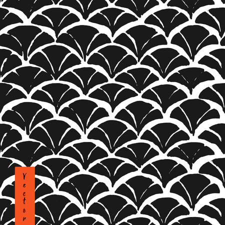 Hand drawn monochrome japanese fish skin seamless pattern in vector. Oriental background for your design. Fish texture.