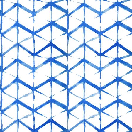 Watercolor shibori indigo seamless pattern. Tie dye Indigo shibori pattern collection. 矢量图像