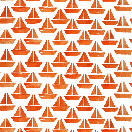 origami paper: Paper boat seamless pattern. Origami ship illustration.
