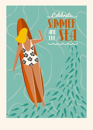 swiming: Art deco surf poster in vector. Summer beach surfing girl illustration. Love the ocean poster. Flat style illustration. Illustration