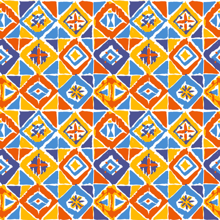 tilling: Hand drawn seamless geometric mosaic ikat pattern in vector. Vibrant rhombus and triangles illustration. Ethnic background.