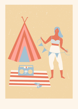 wave tourist: Summer beach camp poster with girl listening the music and tourist tent Illustration