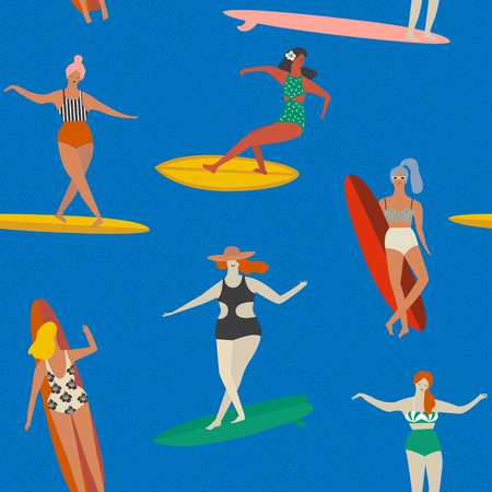 Set of surf girls with surfboard riding a wave. Beach summer travel lifestyle poster in retro style.