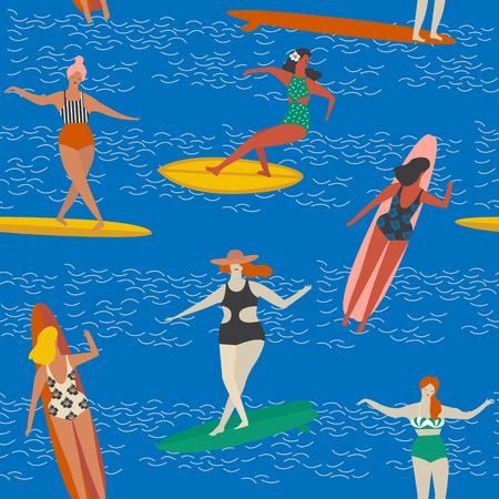 swell: Art deco beach surfing poster in vector. Girl surfers in bikini seamless pattern in vector. Flat style illustration.