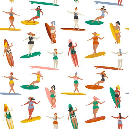 Surfing illustration in vector. Girl surfers in bikini seamless pattern in vector.