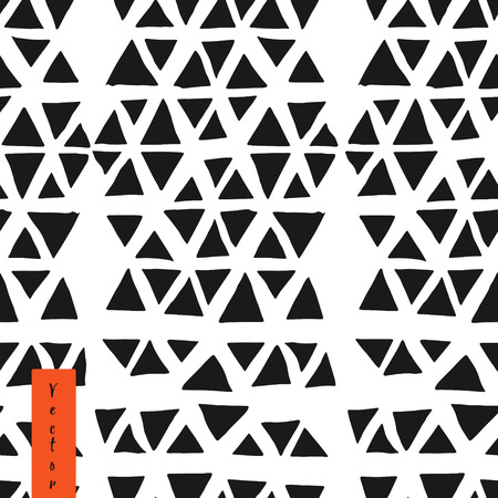 patter: Hand drawn triangle seamless patter. Geometric tribal collection. Illustration