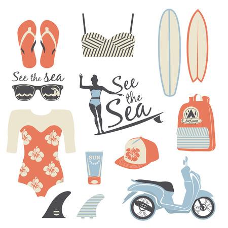boardshorts: Beach style. Surfer girl retro vector set. Vintage surf elements.