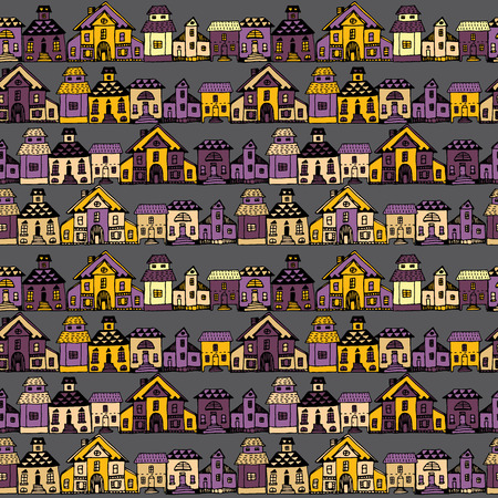 house warming party: Cartoon village streets in vector. Invitations, save the date cards and other design. Illustration