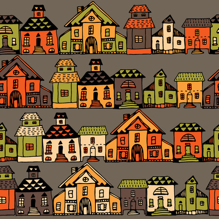 Cartoon village streets in vector. Invitations, save the date cards and other design. Illustration