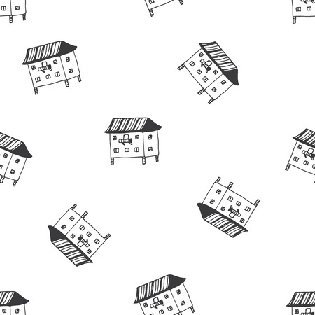 house warming party: English cottages pattern in vector. Invitations, save the date cards and other design. Illustration