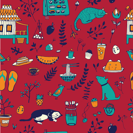 thai noodle: Doodle seamless pattern, enjoy life concept. Use for wallpaper, pattern fills, web page background, surface textures.
