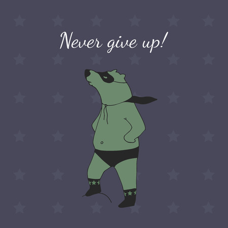 supportive: Never give up! Bear super hero illustration in vector.