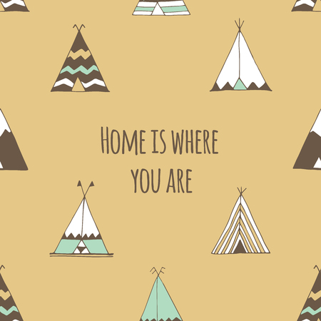 tipi: Home is where you are. Teepee tent illustration in vector. Illustration