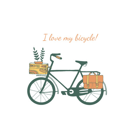 jorney: Vintage bicycle illustration in vector.