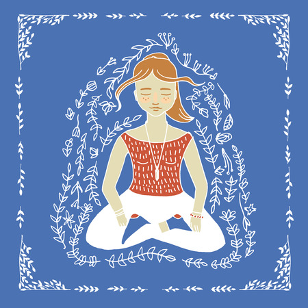 meditating woman: The word yoga and meditating woman illustration in vector
