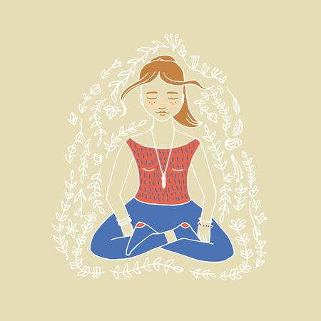 yoga poster: Girl doing yoga poster in vector.