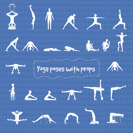 Set of 26 hatha yoga poses with props in vector.