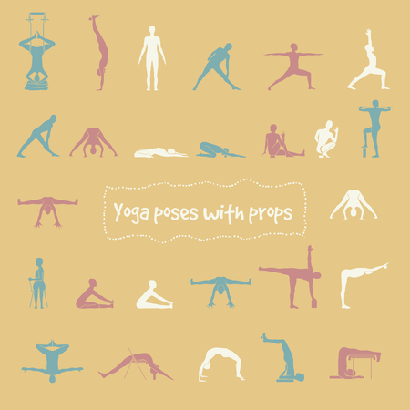 props: Set of 26 hatha yoga poses with props in vector.