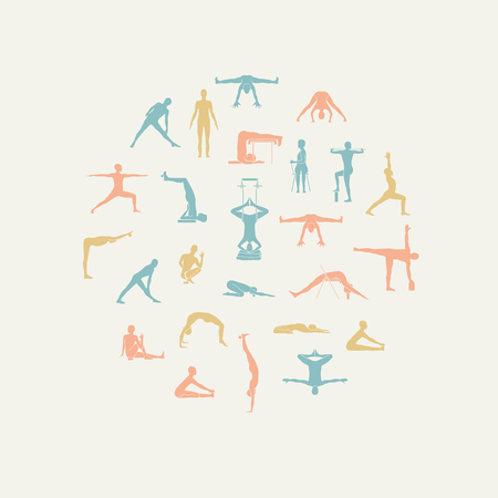 props: Yoga poses with props in vector. Seamless pattern.