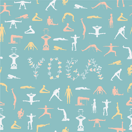 props: Yoga poses with props, seamless pattern.