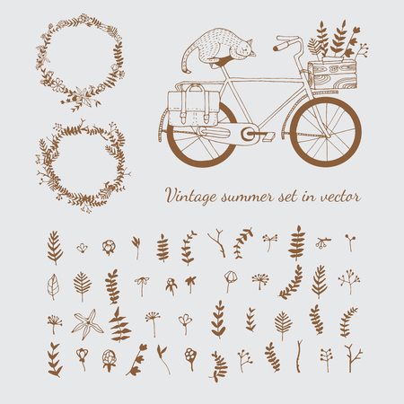 jorney: Vintage summer set in vector. Illustration