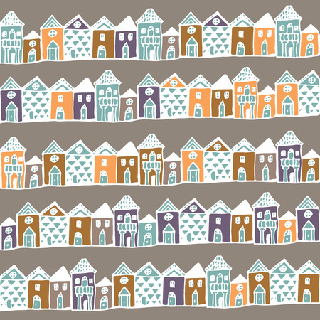 english countryside: Cartoon europe houses streets. Seamless pattern in vector.