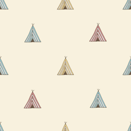 indian summer: Teepee pattern. Wigwam native american summer tent illustration in vector. Indian background pattern.