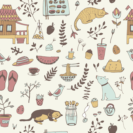 Doodle seamless pattern, enjoy life concept. Use for wallpaper, pattern fills, web page background, surface textures.