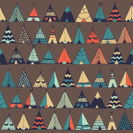 テント ネイティブ アメリカン夏テント イラスト ベクトル。
