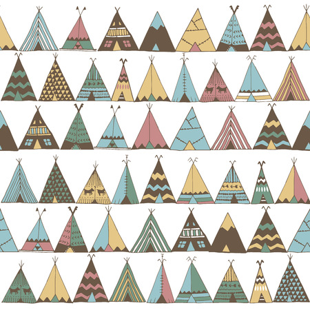 Teepee pattern. Wigwam native american summer tent illustration in vector. Indian background pattern.