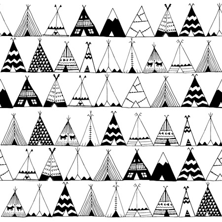 Teepee native american zomer tent illustratie in vector. Stock Illustratie