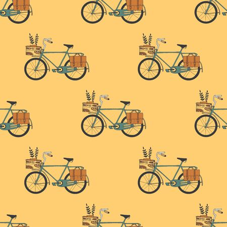 jorney: Illustration of Bicycle, Riding on the bicycle, vector illustration. Pattern seamless.