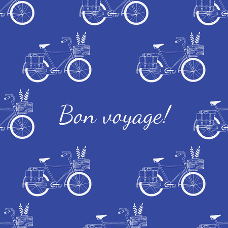 voyage: Hand drawn Bon voyage bicycle pattern. Invitations, save the date cards and other design.