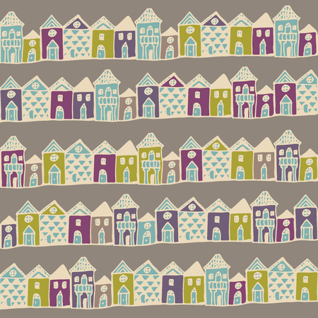 english countryside: Europe houses streets. Seamless pattern in vector. Illustration