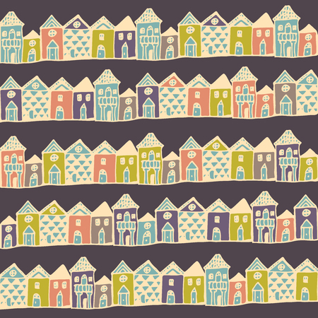 english village: Cartoon europe houses streets. Seamless pattern in vector.