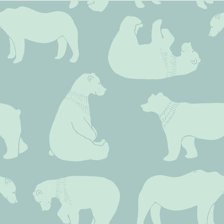 shape cub: Bears seamless pattern in vector.