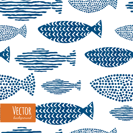 Watercolor decorative fishes patten in vector. 向量圖像