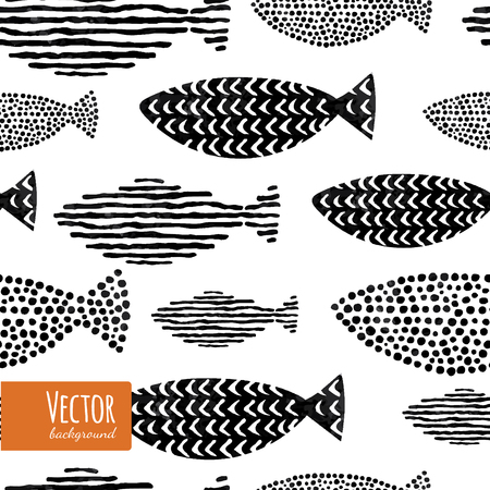Fish seamless pattern in vector