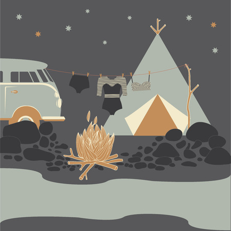 Summer camp. Night camping fire vector illustration.