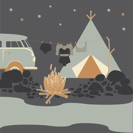Summer camp. Night camping fire vector illustration.
