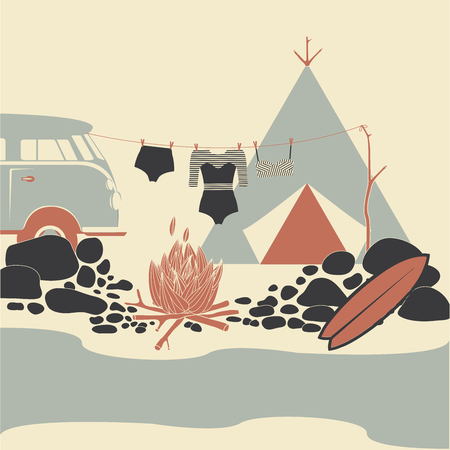 Camping tent, fire. Surf camp. Beach Lifestyle.